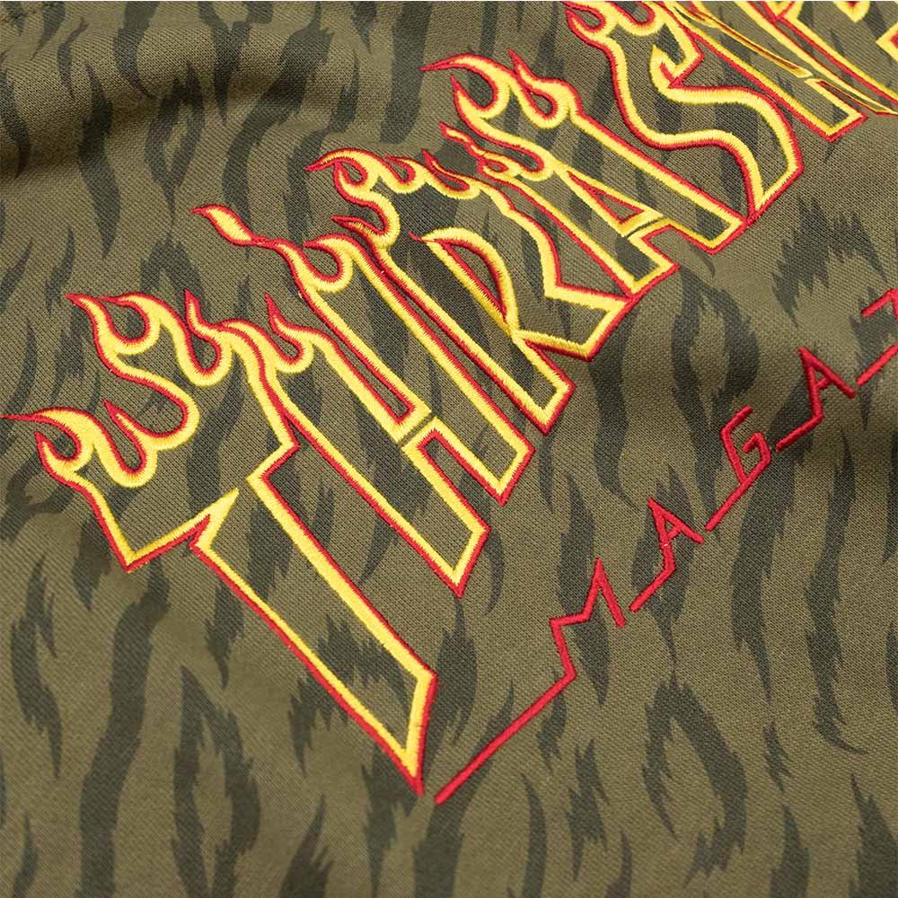Thrasher (Japan) Tiger Flame Hooded Sweatshirt - Olive
