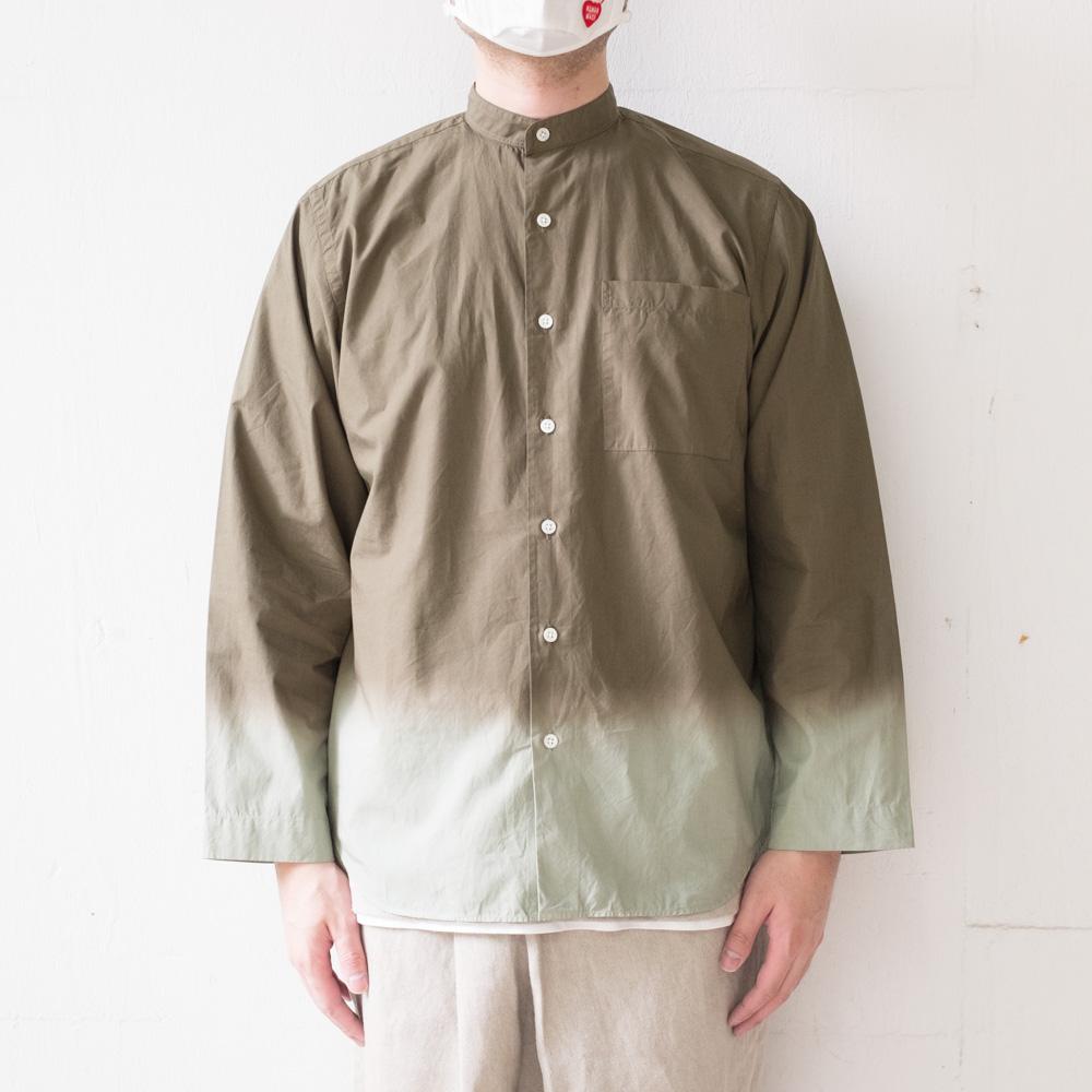 IKIJI Garment Dyed Stand Collar Shirts - Green