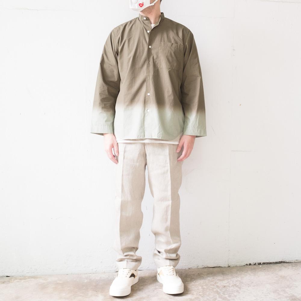 IKIJI Garment dye shirt x linen denim pants