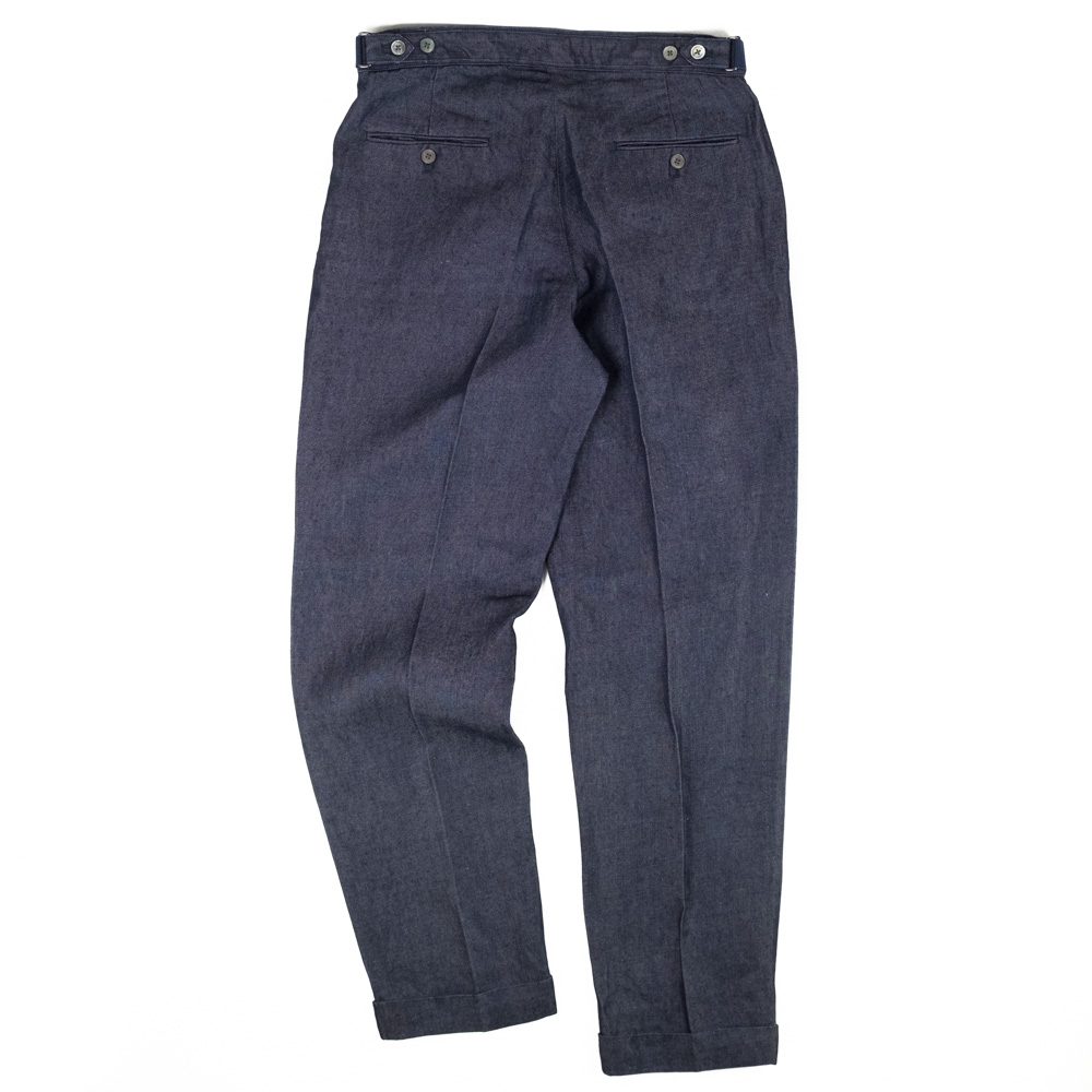 IKIJI Linen Denim Waist Adjustable Pants - Navy