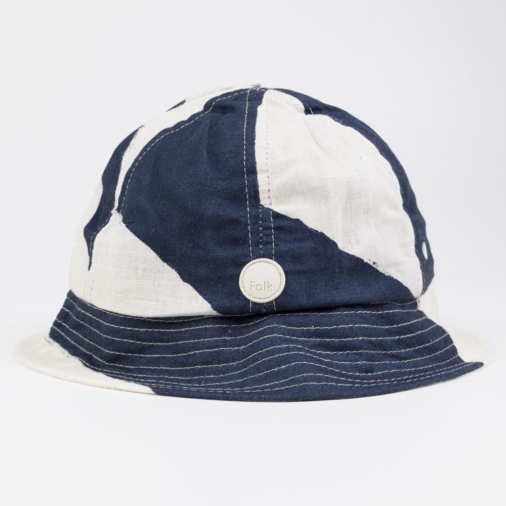 Folk Bucket Hat - Border Print Navy Ecru