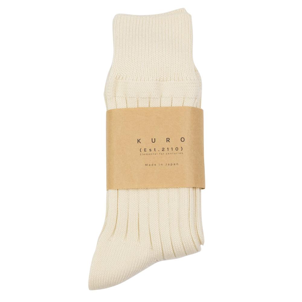 Kuro Egyptian Cotton Rib Socks - Off White