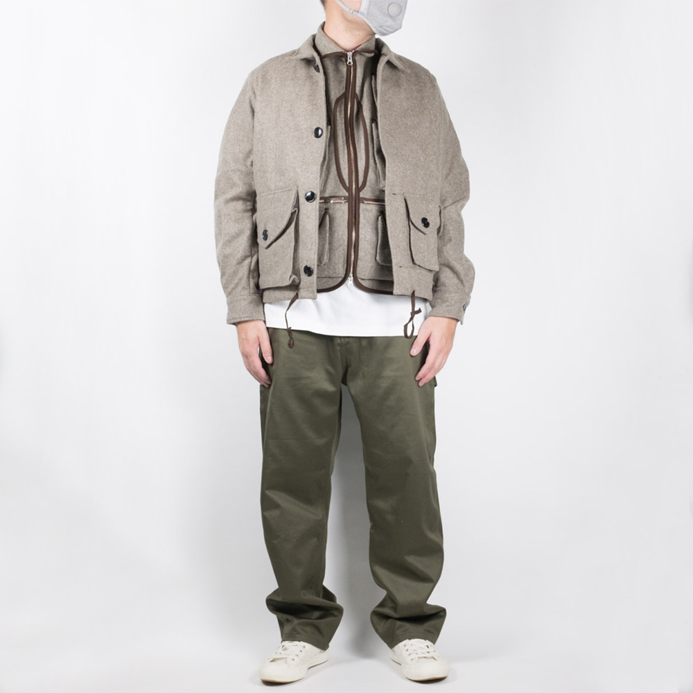 Monitaly Military Service Jacket Type-A - Wool Flannel Melange Charco