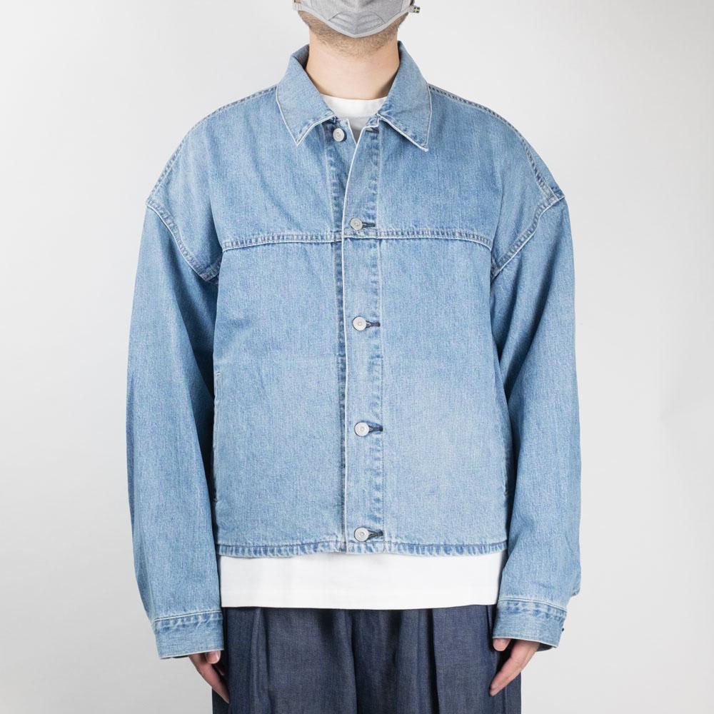 Kuro Crossed Recycle Denim Jacket - Light Indigo