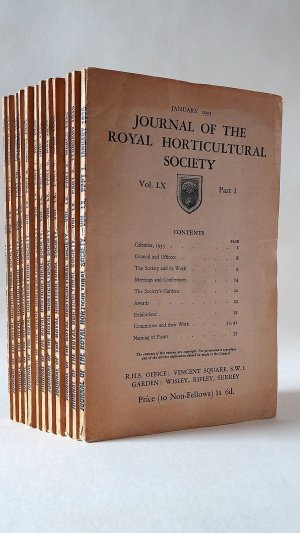 Journal of the Royal Horticultural Society Vol. LX Part One to Twelve January-December 1935