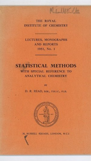 Statistical Methods with Special Reference to Analytical Chemistry