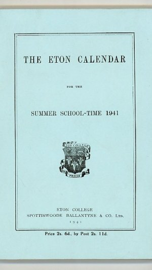 The Eton Calendar for the Summer School-Time 1941