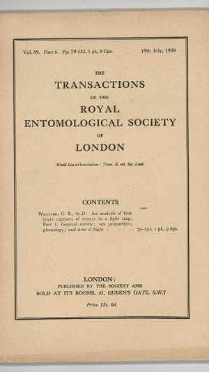 The Transactions of The Royal Entomological Society of London Vol. 89 Part 6