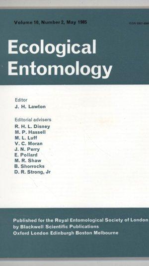 Ecological Entomology Volume 10, Number 2 May 1985
