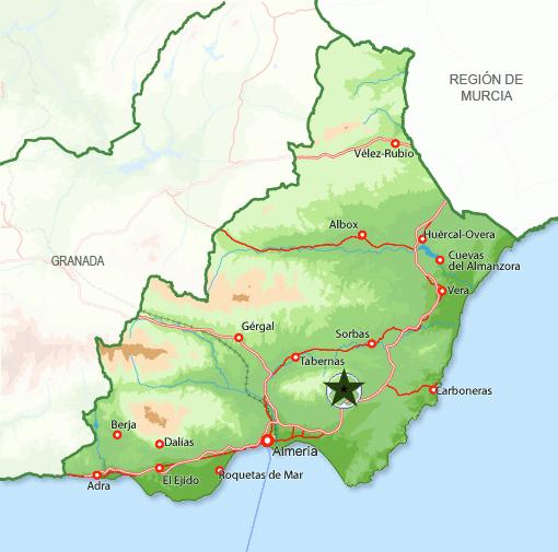 Andorreando mapa Níjar Almería