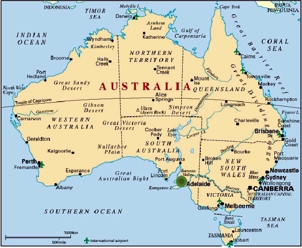 Mapa Adelaida Australia