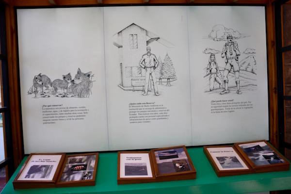 Exposición museo Centro de Interpretación Reserva Ecológica Cotacachi.