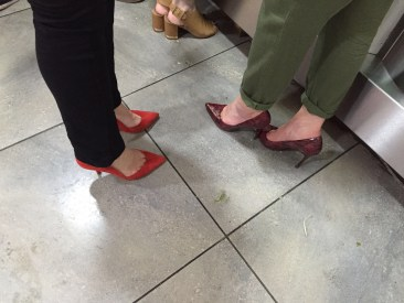 Judging our fellow mens shoes in the kebab shop.