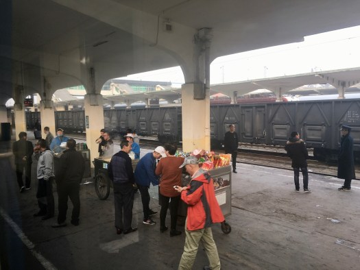 Breakfast vendors on the train platform in China