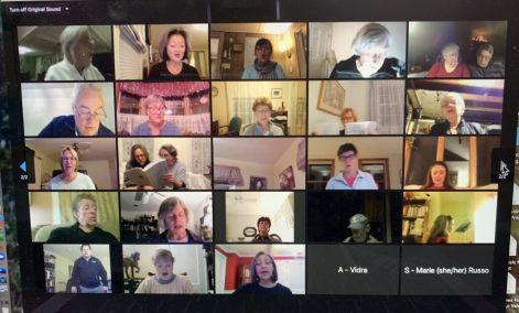 Andover Choral Society rehearses via Zoom.