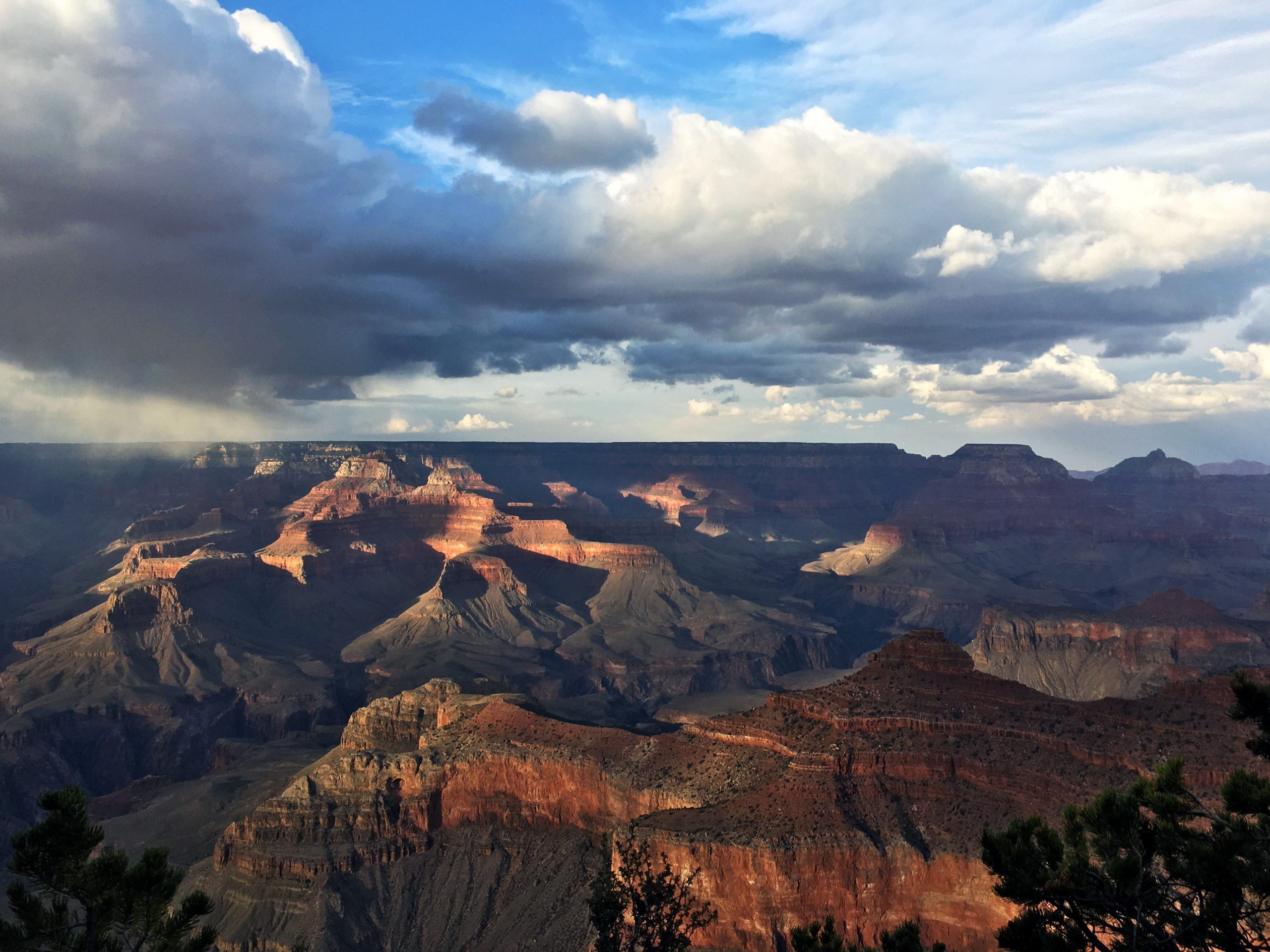 grand canyon with storm clouds