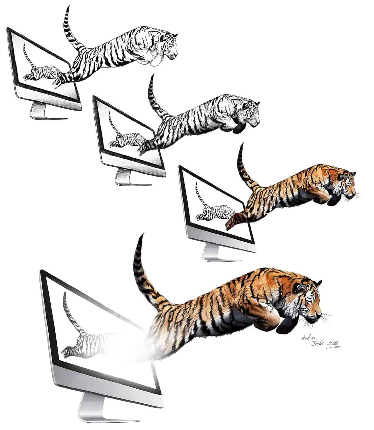 Die Entstehung des springenden Tigers - Illustration