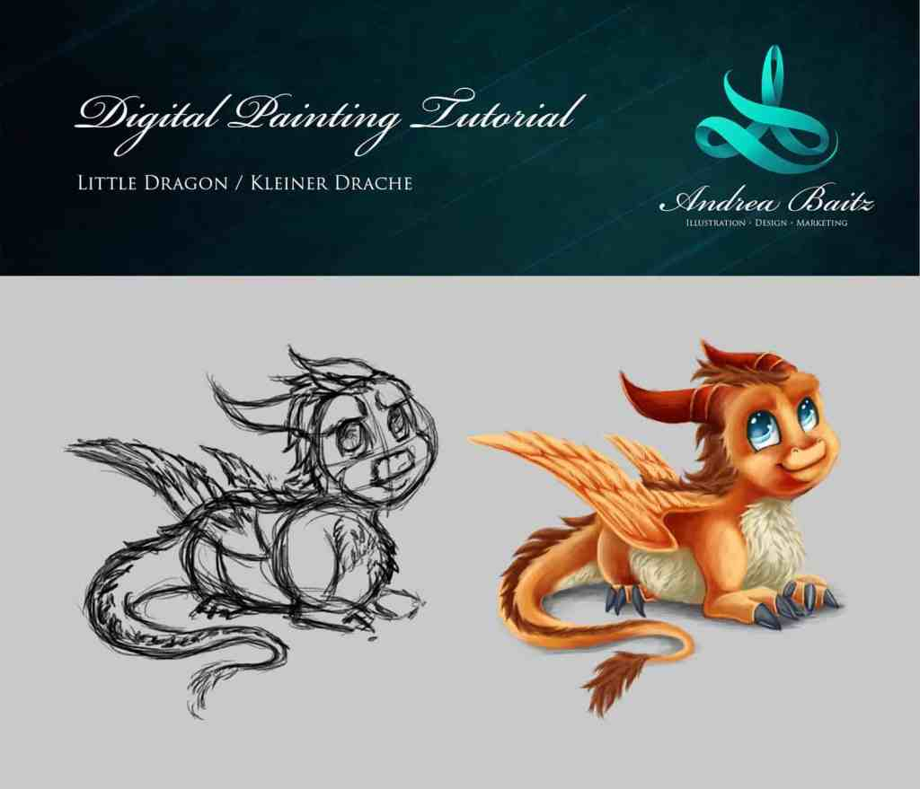Digital Painting Tutorial Little Dragon, Drawing Tutorial, Dragon, Drache, Illustration Vorschaubild, Andrea Baitz