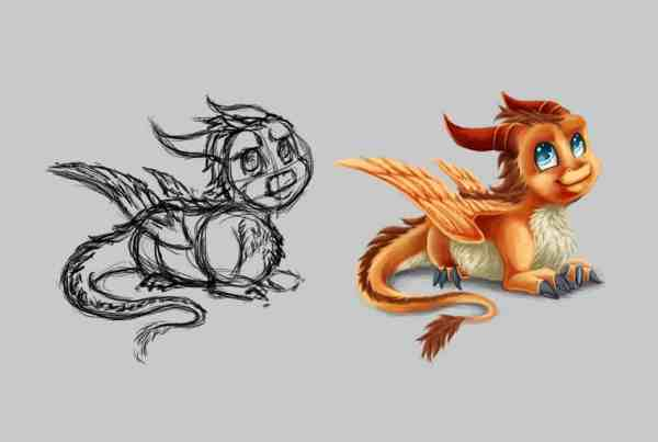 Digital Painting Tutorial Little Dragon, Drawing Tutorial, Dragon, Drache, Illustration Vorschaubild, Andrea Baitz
