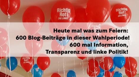 Heute mal was zum Feiern: 600 Blog-Beiträge in dieser Wahlperiode des Landtags