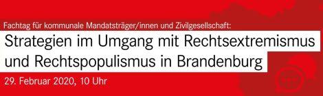 Veranstaltungshinweis: Strategien im Umgang mit Rechtsextremismus und Rechtspopulismus in Brandenburg