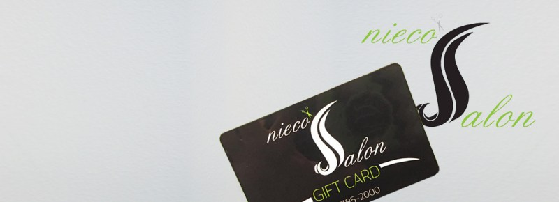 nieco's salon logo and gift card