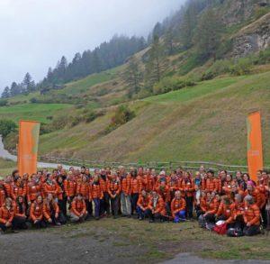 Gruppenbild vor dem Aufstieg auf das Breithorn, Zermatt, Schweiz, Kanton Wallis