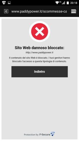 F-Secure SAFE: sito scommesse bloccato