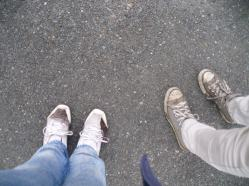 Nonstop rain = mud everywhere, including my white sneakers!