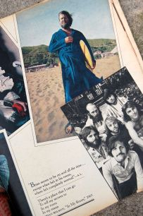 """Brian Wilson in blue bath robe with surfboard. """"Brian seems to be on acid all the time..."""" photo by Annie Leibovitz, on andreabadgley.com"""