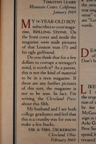 Reader letter from angry parents to Rolling Stone magazine, 1977 issue 254, on andreabadgley.com