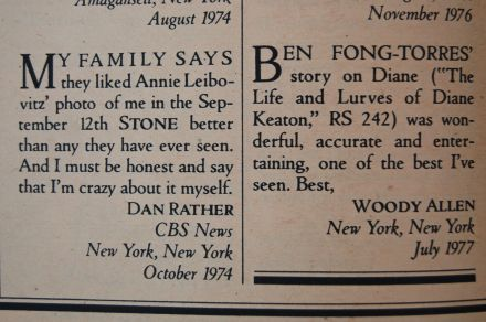 Letters to Rolling Stone from Dan Rather and Woody Allen, 1977 issue 254, on andreabadgley.com