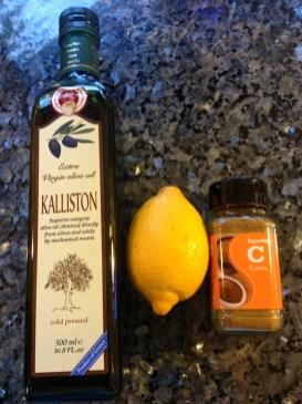 Olive oil, lemon juice, ground cumin