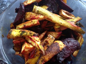 Roasted vegetables with herb bliyz