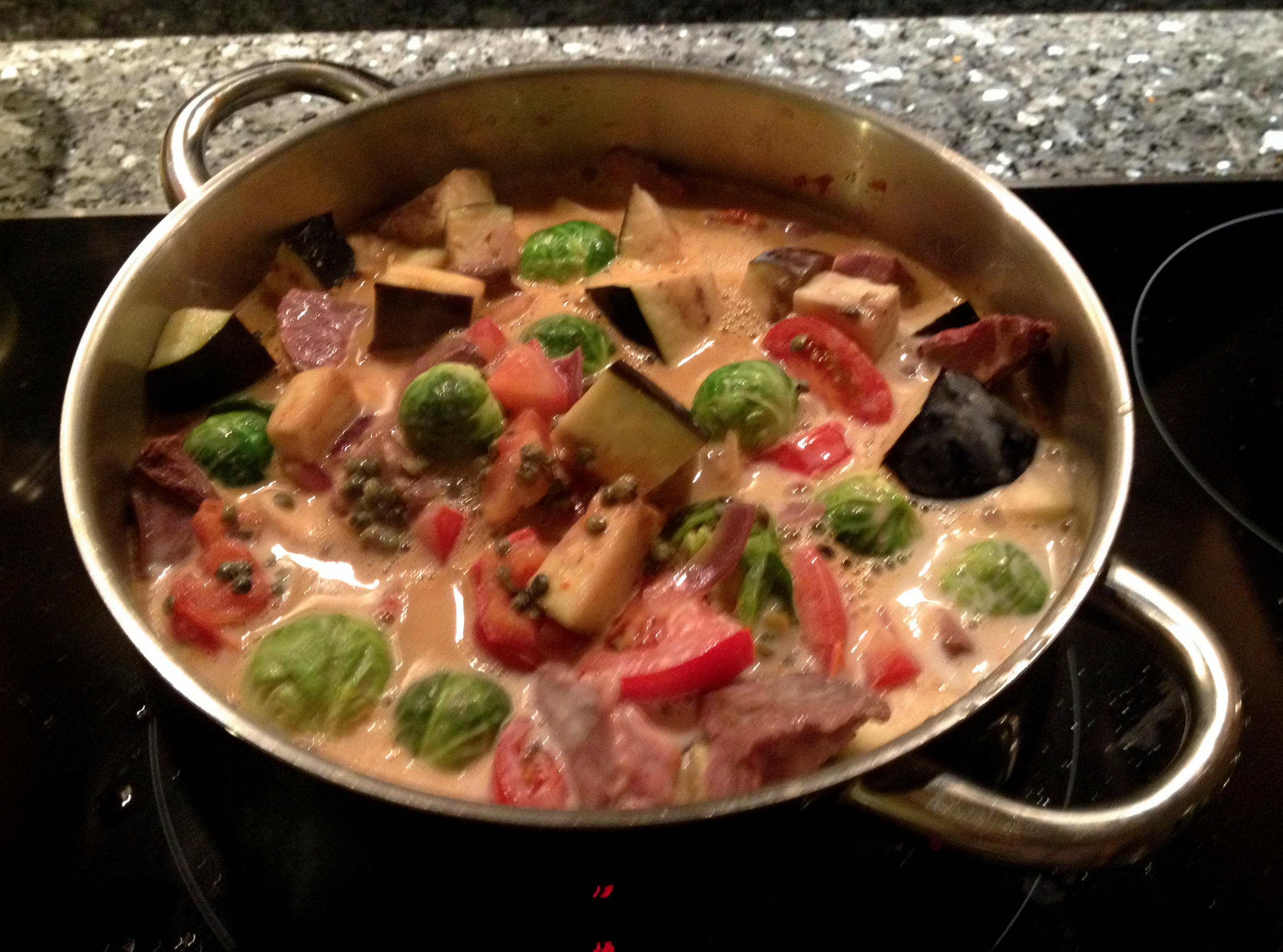 Vegetable and Beef heart/ Meat Thai Red Curry