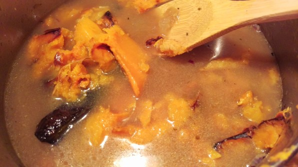 Adding roasted skinned butternut squash