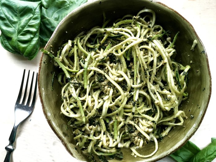 vegan pesto pasta with zucchini noodles