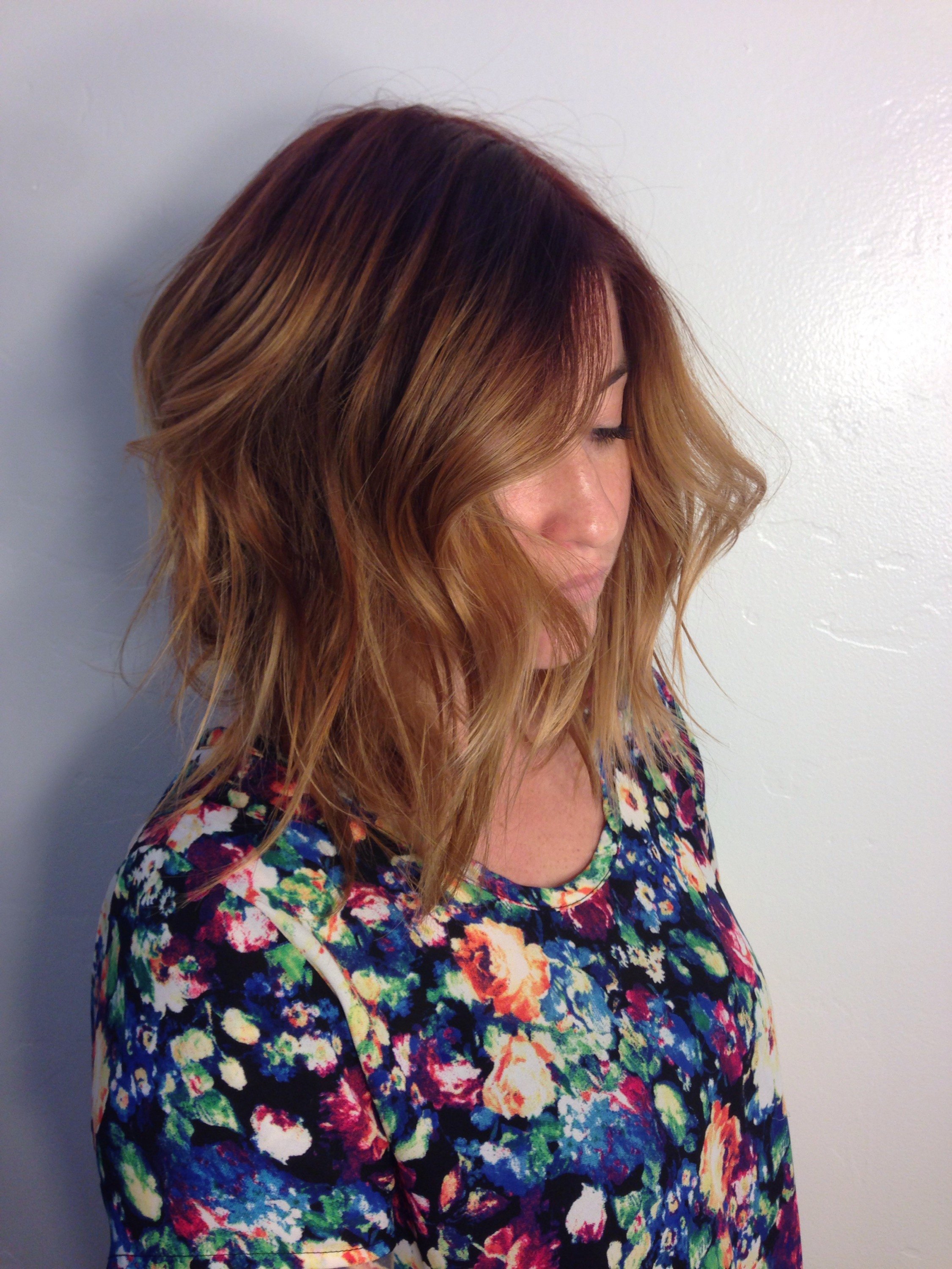 Strawberry Blonde Balayage Long Bob Andrea LeFevre