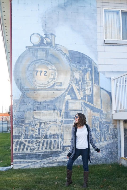 Train mural downtown Penticton, B.C.