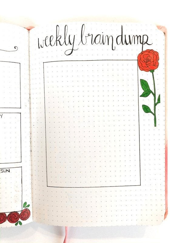 Bullet journal weekly brain dump page: running to-do list