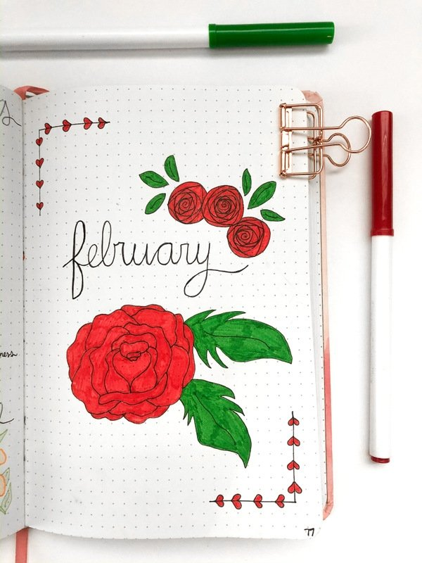 February bullet journal cover page with roses