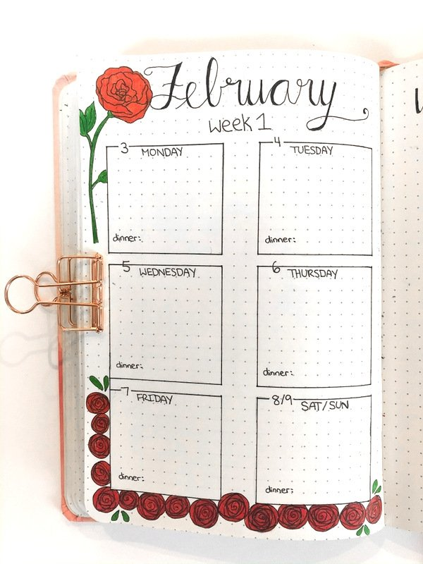Bullet journal weekly layout: rose theme