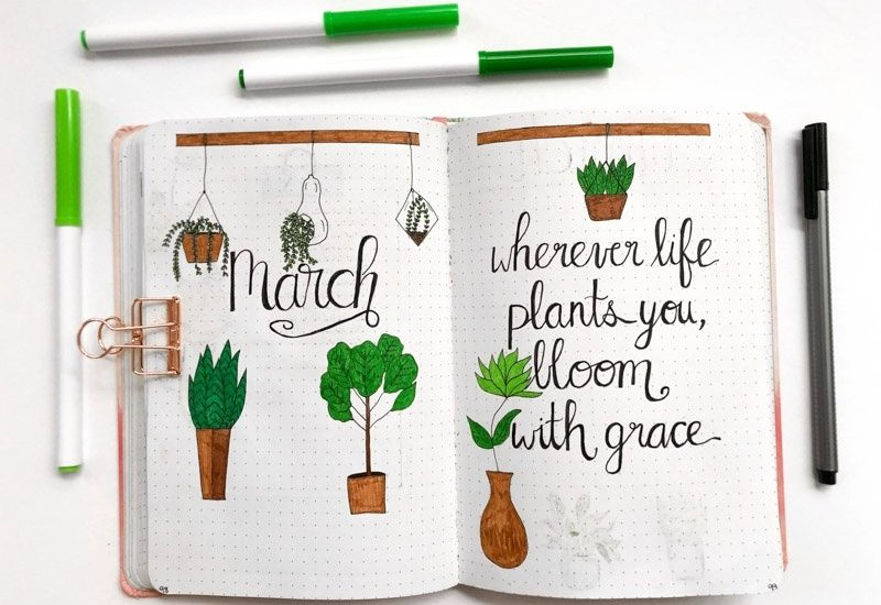 March Bullet Journal Layout with a houseplant theme