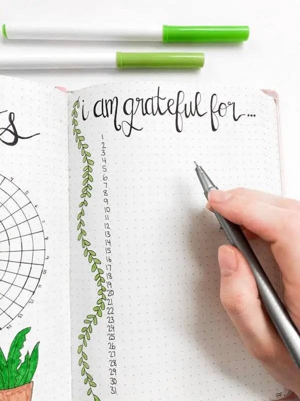 March bullet journal gratitude journal