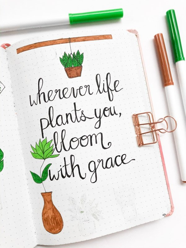 Bullet Journal Quote Page houseplant theme