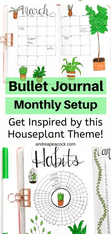Bullet Journal Monthly Setup: March houseplant and succulent theme