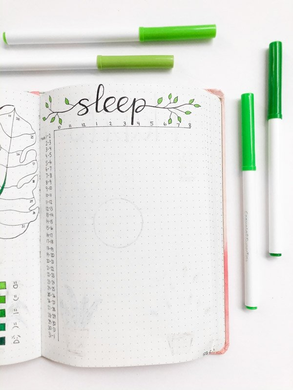 March bullet journal sleep tracker