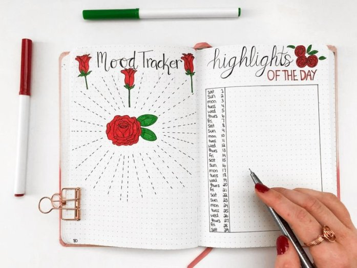 Monthly bullet journal mood tracker and highlights of the day spread