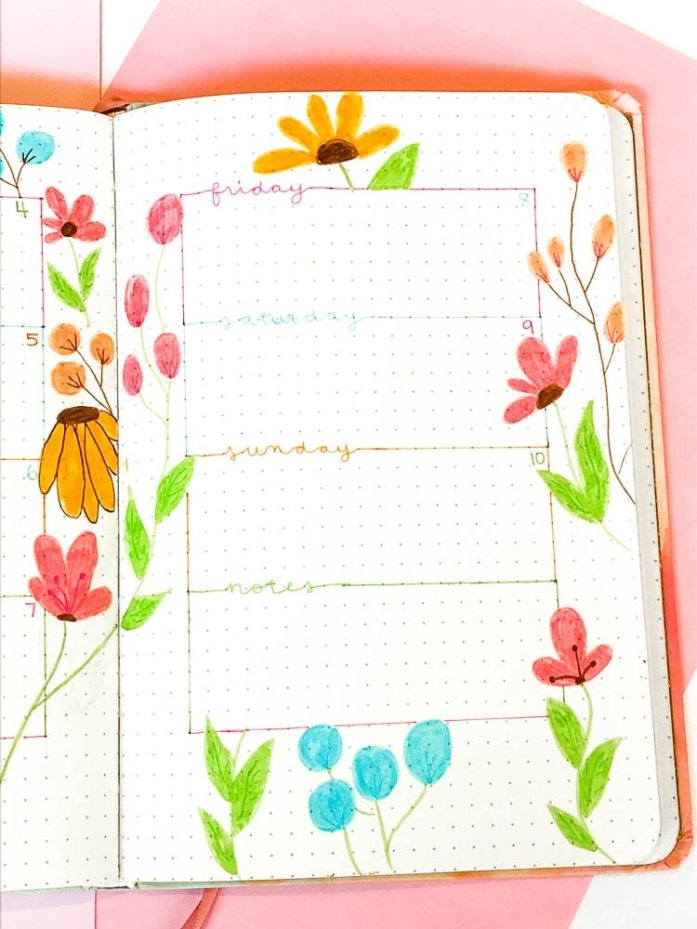 Bullet journal spring weekly layout