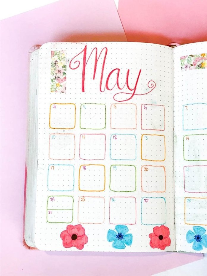 May bullet journal monthly calendar